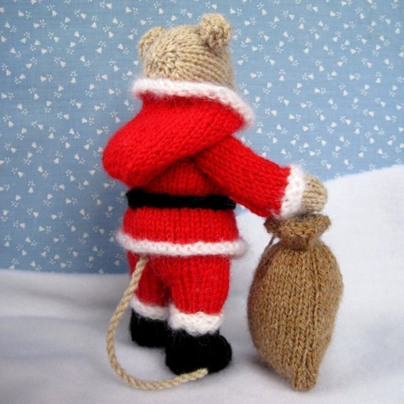 Christmas Stocking Knitting Pattern Straight Needles : Santa mouse knitted toy doll or festive ornament instant
