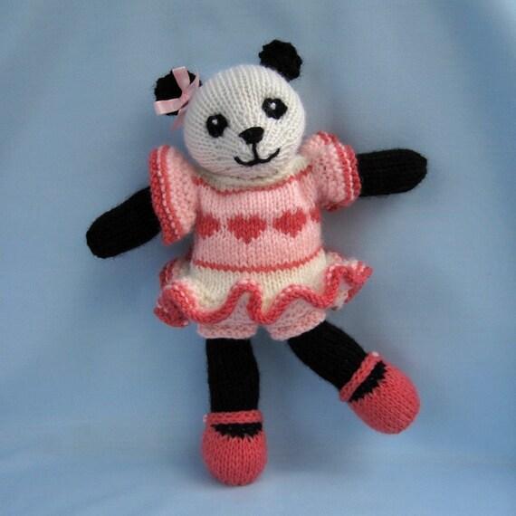 Cherry Blossom Panda knitting pattern - INSTANT DOWNLOAD