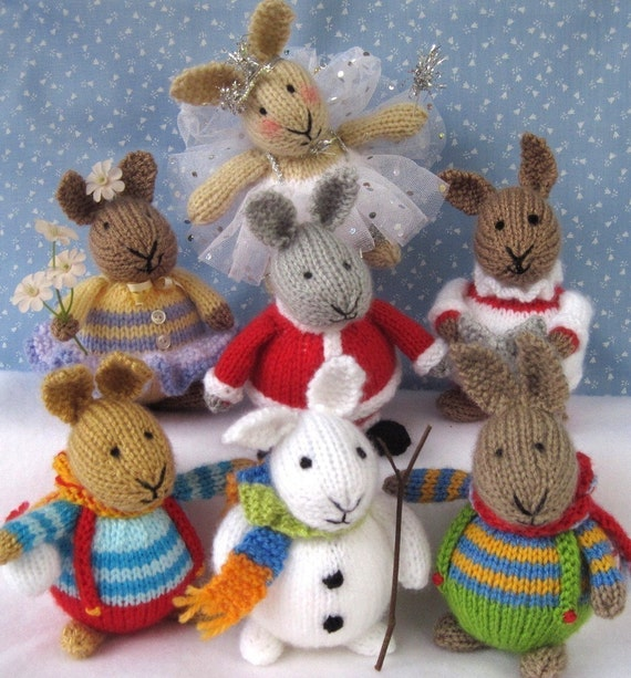 6 BUNNY PATTERNS - Winter in Bunnyland - knitted toy rabbits - Pdf email knitting pattern