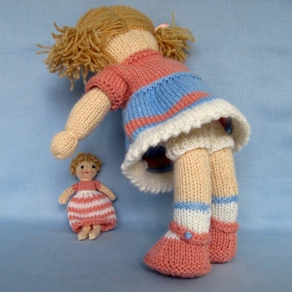 Daisy Doll Knitting Pattern : Lulu and little doll knitting pattern INSTANT DOWNLOAD