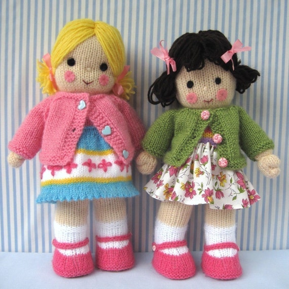 POLLY and KATE - knitted toy dolls - PDF email knitting pattern