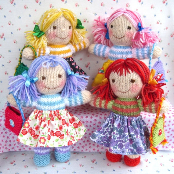 Rainbow Rascals doll knitting pattern INSTANT by dollytime