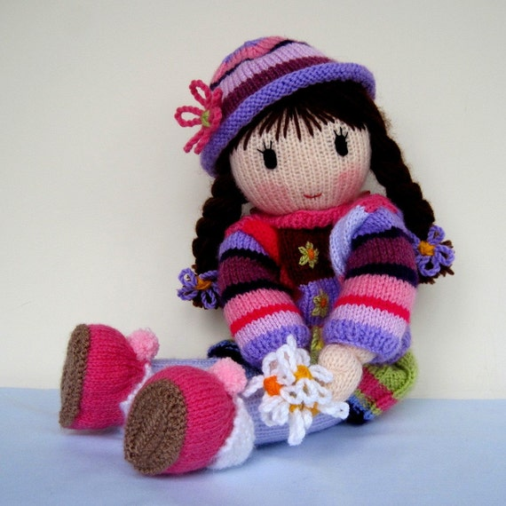 Free Knitting Pattern Downloads : POSY knitted toy doll PDF email knitting pattern