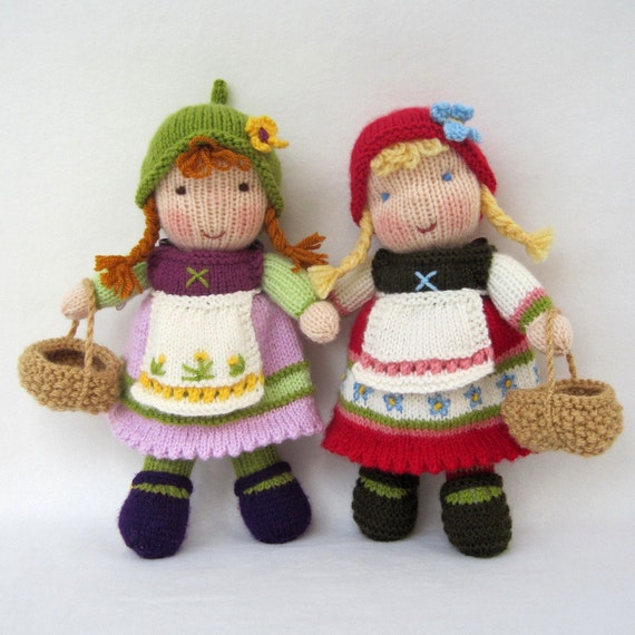 FERN and FLORA - pdf email toy doll knitting pattern - ePattern