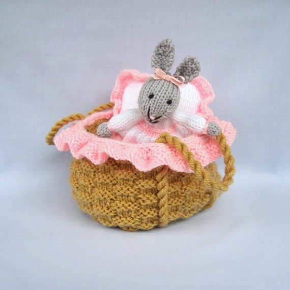 BABY BUNNY in a basket crib - knitted toy rabbit doll - PDF email knitting pattern