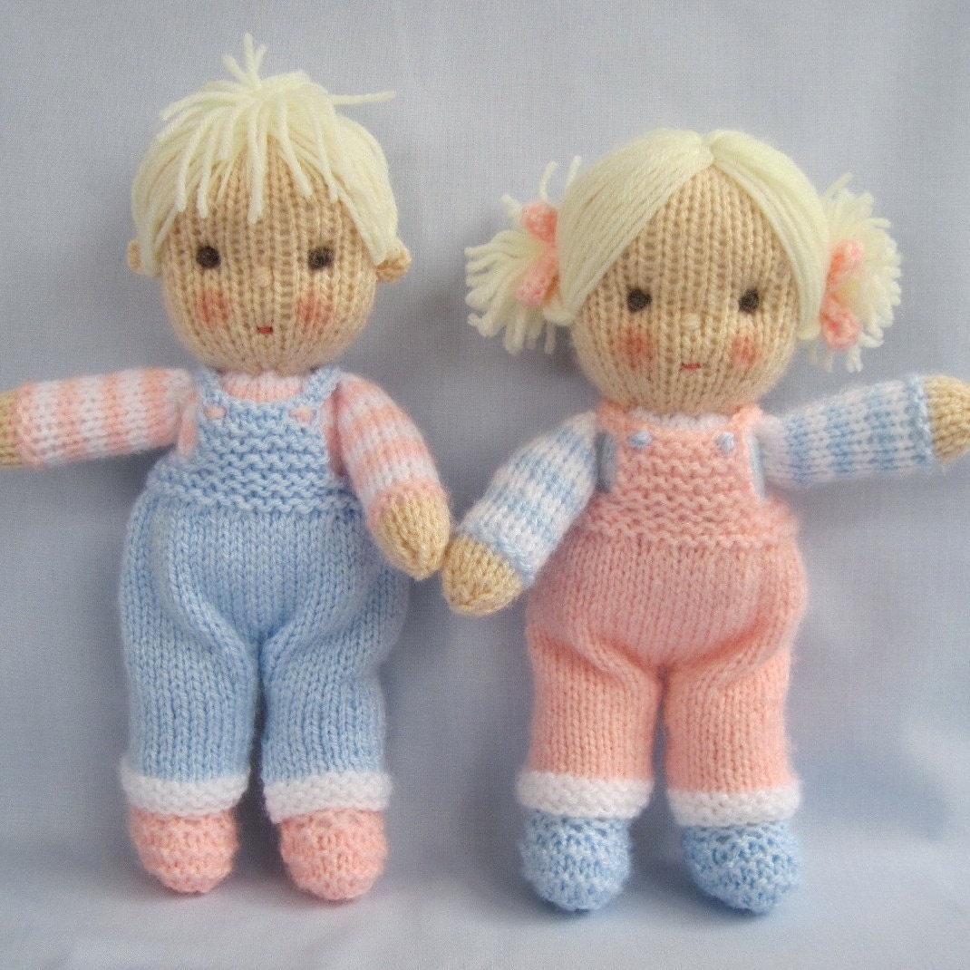 Free Patterns For Knitted Dolls : Jack and Jill Dolls knitting pattern INSTANT by dollytime ...
