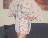 crochet  top or mini dress or swimsuit cover up size small to medium cream cotton