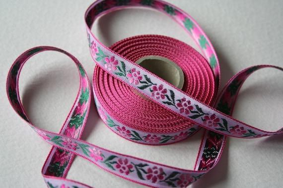 10 Meters of Pretty Pink Floral Vintage Ribbon Trim