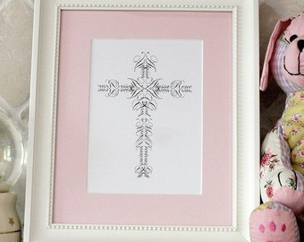 Personalized Confirmation First Communion Name Cross print - 5x7