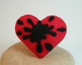 Ink Spot Heart Felt Brooch Pin