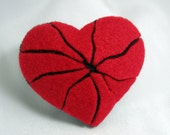 Handmade Red Cracked Heart Brooch Valentine Present
