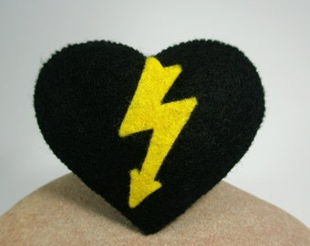 Lightning Heart Brooch Pin