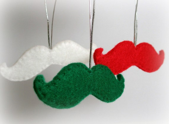 Felt Mustache ornament  Holiday Decoration (3 pcs)