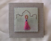 A little princess - fibre art - embroidery on hand-dyed fabric....