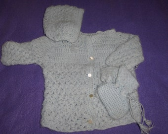 Vintage Crocheted Baby Sweater, Hat and Booties