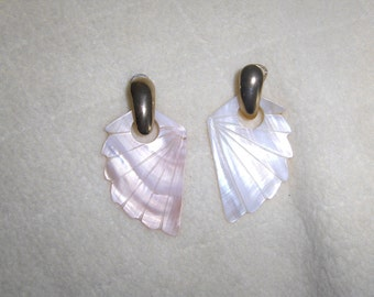 Mother of Pearl Abalone Shell Feather Dangle Earrings