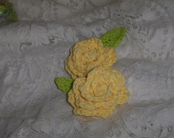 Handmade Crocheted Yellow Roses with Leaves set of 4