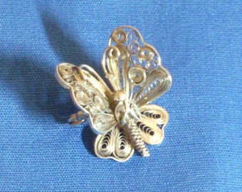 Butterfly Sterling Filigree Vintage Brooch Pin