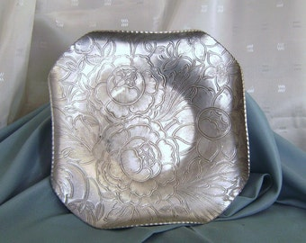 Floral Vintage Aluminum Ware Candy Cookie Serving Plate