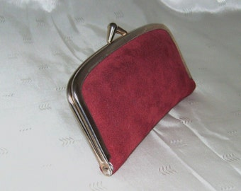 Vintage Red Suede Leather Travel or Purse Size Manicure Kit