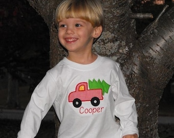 Holiday Applique Christmas Tree in a Truck Long Sleeve T-Shirt