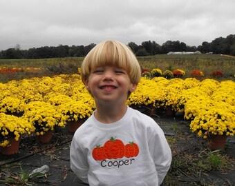 Fall pumpkin appliqued children's long sleeve shirt
