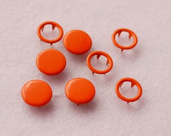50 sets, Orange (XM8) Capped and Open Prong Snap Button, Size 18L/17L (11.3/10 mm)