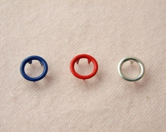 50 sets, Blue, Red, Galvanize Open Prong Snap Button, Size 15L (9 mm)