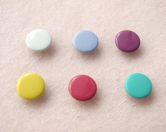 100 sets, Mixed Colors (6 colors) Capped Prong Snap Button Set 4, Size 18L (11.3 mm)