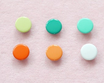 50 sets, Green & Orange Shade (6 colors) Capped Prong Snap Button, Size 14L (8.5 mm)