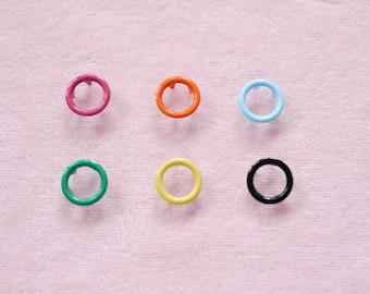 100 sets, Mixed Colors (6 colors) Open Prong Snap Button Set 9, Size 17L (10 mm)