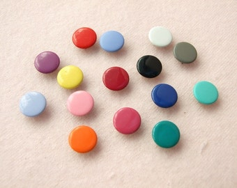50 sets, Mixed Colors (15 colors) Capped Prong Snap Button, Size 16L (10 mm)