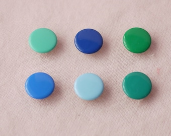 100 sets, Green and Blue Shade (6 colors) Capped Prong Snap Button, Size 14L (8.5 mm)