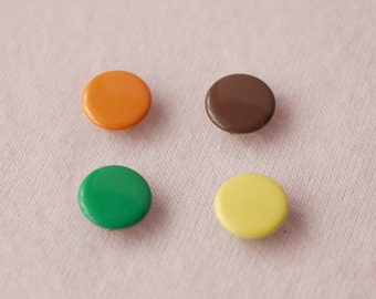 50 sets, Orange, Brown, Yellow, Green Shade (4 Colors) Capped Prong Snap Button, Size 14L (8.5 mm)