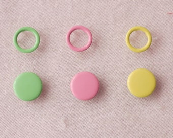 100 sets, Pastel Shade (3 Colors) Capped and Open Prong Snap Button Set 5, Size 14L/13L (8.5/8 mm)