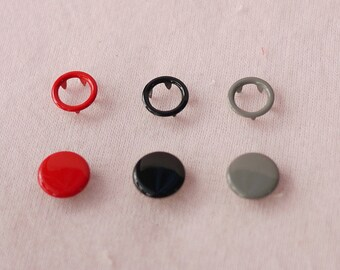 100 sets, Mixed Colors (3 Colors) Capped and Open Prong Snap Button Set 4, Size 18L/17L (11.3/10 mm)
