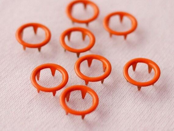 50 sets, Orange (XM8) Open Prong Snap Button, Size 13L (8 mm)