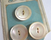 3 Vintage Ocean Pearl Mother of Pearl Buttons on Button Card
