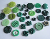 32 Assorted Vintage Green Buttons
