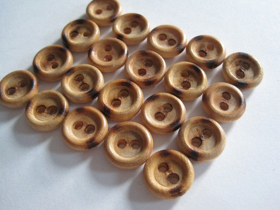 20 Vintage Wooden Two-Holed Buttons