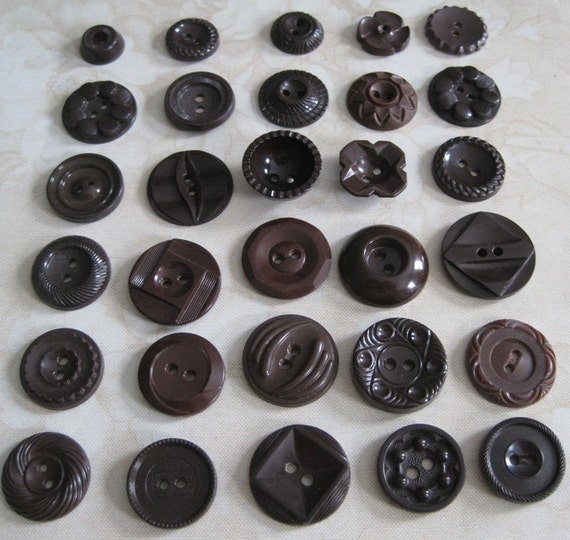 30 Assorted Vintage Brown Plastic Buttons
