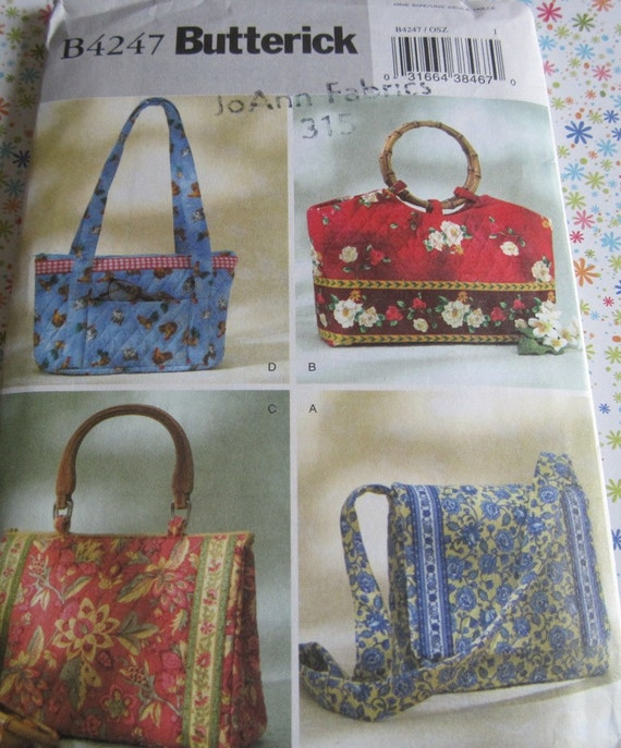 UNCUT Butterick Printed Sewing Craft Pattern B4247 Misses'  Quilted Handbags