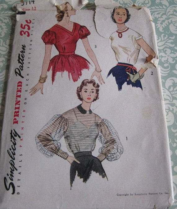 Vintage Simplicity Printed Pattern 3714..Junior Misses' and Misses' Blouse..size 12..breast 30..dated 1951