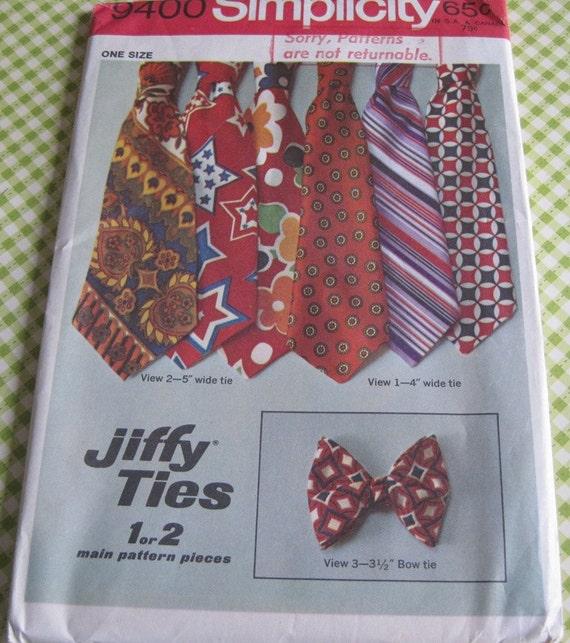 Vintage Simplicity Printed Sewing Pattern 9400 Men's Set of Jiffy Ties