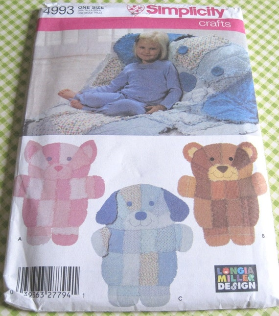 Uncut simplicity sewing pattern 4993 rag quilt wall hangings for Simplicity craft pattern 4993