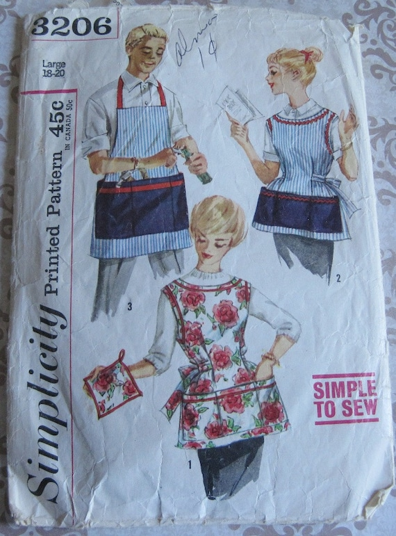Vintage Simplicity Printed Sewing Pattern 3206..Large 18-20..Misses' and Men's Apron