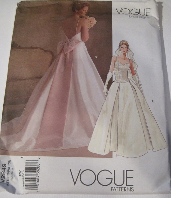 UNCUT Vogue Wedding Dress Sewing Pattern V2849 Sizes 18-20-22..dated 2005