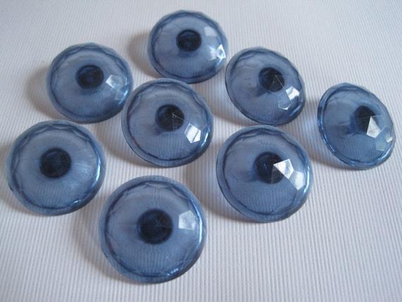 8 Vintage Blue Plastic Shank Buttons