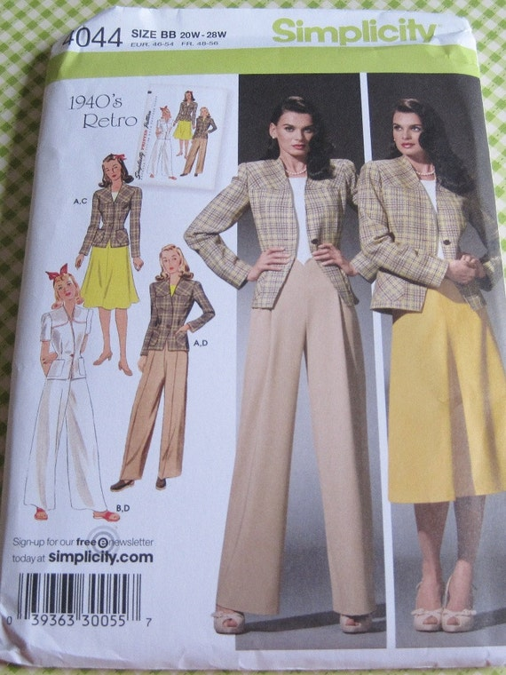 UNCUT Simplicity Sewing Pattern 4044..1940's Retro...Misses'/Women's Skirt, Pants and Lined Jacket..sizes 20W-28W