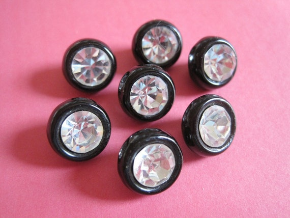 7 Vintage Black Glass Rhinestone Self Shank Buttons
